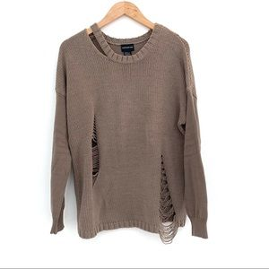 Central Park West | Brown Knit Distressed Sweater